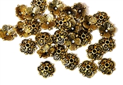 25pc antique gold plated 8mm Flower filigree beadcaps