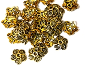 25pc antique gold plated 10mm Flower Swirl beadcaps
