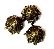 6pc antique brass plated 18mm Flower bead caps