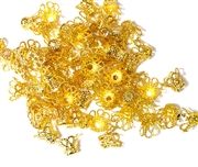 25pc antique gold plated 8mm Flower bead caps