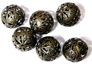 6PC Antique Brass 18mm Filigree Rounds