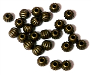 25PC Antique Brass Corrugated Round 6mm