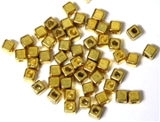 50PC Antique Gold Cube Spacer Beads 4mm