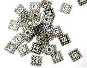 30PC Antique Silver 8mm Dotted Square Spacer