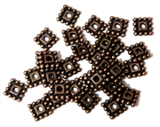 30PC Antique Copper 8mm Dotted Square Spacer
