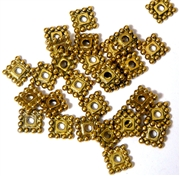 30PC Antique Gold 8mm Dotted Square Spacer