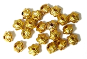 20PC Bright Gold 8mm Dotted Saturn Bead