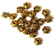 20PC Antique Gold 8mm Dotted Saturn Bead