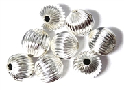 8PC Antique Silver Corrugated Rounds 12mm