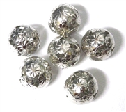4PC Antique Silver Geisha Round 14mm