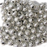 25PC Antique Silver Stardust Rounds 6mm
