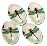 2pc 18x13mm glass cabochons dragonfly design