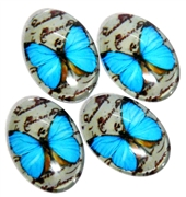 2pc 18x13mm glass cabochons Blue Butterfly design