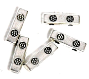 5pc Antique Silver Carved Flower Connector Bars 12mm