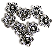 10pc 10mm Antique Silver Flower Bead