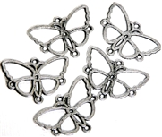 5pc Antique Silver Butterfly Connector 24x16mm