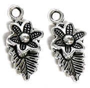 2pc Flower & Leaf Antique Silver Charm 23x10mm