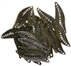 10pc Antique Brass Filigree Leaf Connectors 33x10mm
