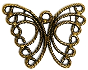 2pc Flat Wire Swirls Butterfly Charm 30x23mm Antique Brass