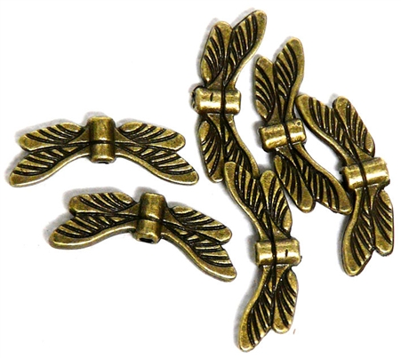 6pc Antique Brass Dragonfly Wing Beads 20x8mm