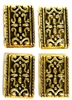 4pc 3 Strand Spacer Bar Gold Plated Swirl