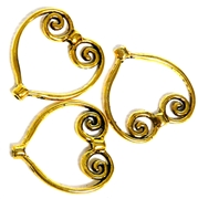 4pc Gold Plated Heart Frame Beads 20mm