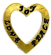 1pc Antique Gold Heart Joy Love Peace 22mm
