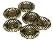 6pc antique brass flower bases 26mm