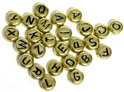 26pc  Alphabet Metalized Plastic Coins Antique Gold 6mm