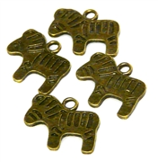 4pc antique brass zebra charm 20x16mm