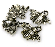 4pc antique silver bug charm 12x20mm