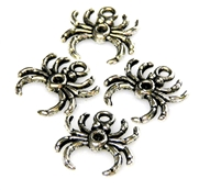 6pc antique silver spider charms 16x16mm