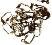 5pr Hinged Earring wires Antique Brass Fluer Front