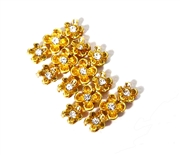 3pc 3 Strand Spacer Bar Gold Plated Flower Rhinestone