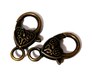 2pc Large Antique Brass Heart Lobster Clasps 25x16mm