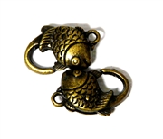 2pc Antique Brass Lobster Clasp Fish 20x12mm