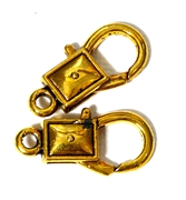 2pc Gold Plated Large Lobster Clasps Rectangle 28x14mm