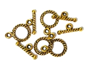 4pc Gold Plated Rope Toggle Clasp Small 15mm