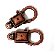 2pc Antique Copper Large Lobster Clasp Rectangle 26x14mm