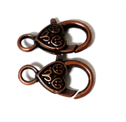 2pc Antique Copper Large Lobster Clasp Heart Etched 26x18mm