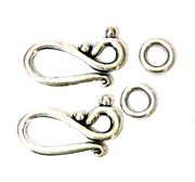 2pc Silver Plated Hook and Eye Clasp 21x12mm