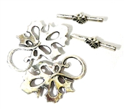 2pc Silver Plated Leaf Toggle Clasp 32x22mm