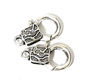 2pc Silver Plated Large Lobster Clasp Pattern Square 22x15mm