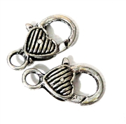 2pc Silver Plated Large Lobster Clasp Heart Lines 26x15mm