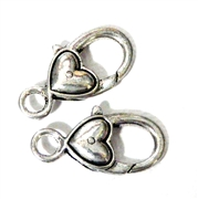 2pc Silver Plated Large Lobster Clasp Heart Smooth 28x14mm