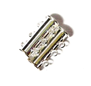 1pc Silver plated Magnetic Tube Clasp 3 Strand 20x10mm
