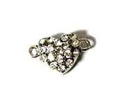 1pc Silver plated Magnetic Clasp Rhinestone Heart 18x12mm
