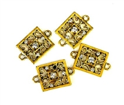 2pc rhinestone charm/connector gold plated filigree square