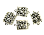 2pc rhinestone charm/connector silver plated filigree square