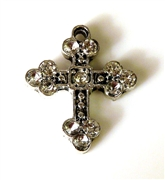 1pc small silver plated rhinestone cross charm 27x23mm